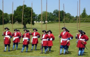 Reenactors portraying pikemen of the 1690s