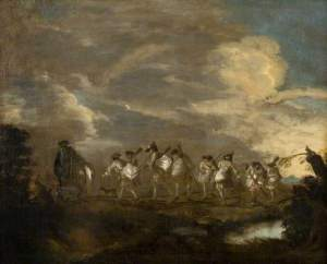 French recruits off to join their regiment. Painting after Antoine Watteau.