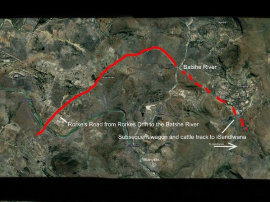 A rough outline of the course of the road from Rorke's Drift.