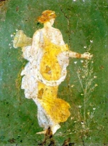 Fresco of a woman collecting flower's from Stabae.