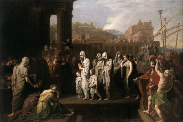 Agrippina landing at Brundisium with the ashes of Germanicus by Benjamin West.