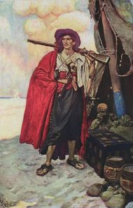 """The Buccaneer was a picturesque fellow"" By Howard Pyle 1905."