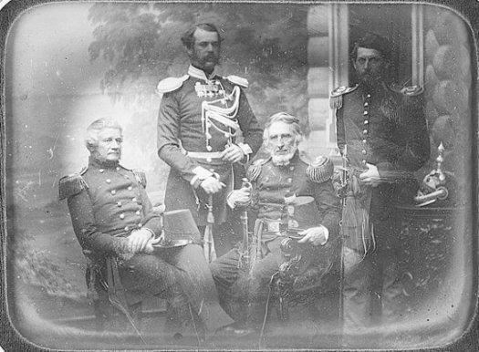Left to Right. Maj A Mordecai (Seated), Lt Col Obrescoff (Satanding), Maj R Delafield (Sitting) Cpt G.B. McClellan.