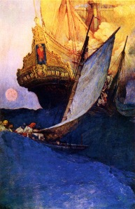 Howard Pyle's 1905 painting of an Attack on a Treasure Galleon.