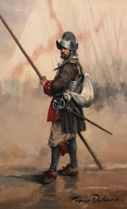 Spanish Pikeman of the Tercio de Asturias in Europe 1690.
