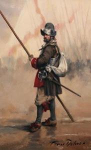 Spanish Pikeman of the Tercio de Asturias in Europe 1690.