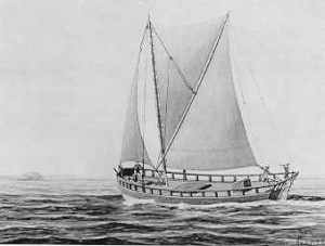 A small Pinnace with mainmast, jibb and stay.