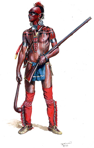 Shawnee Warrior dressed for war. By Don Troiani.