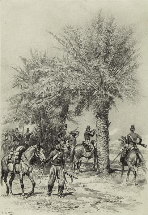 Chasseurs skirmishing in Algeria.