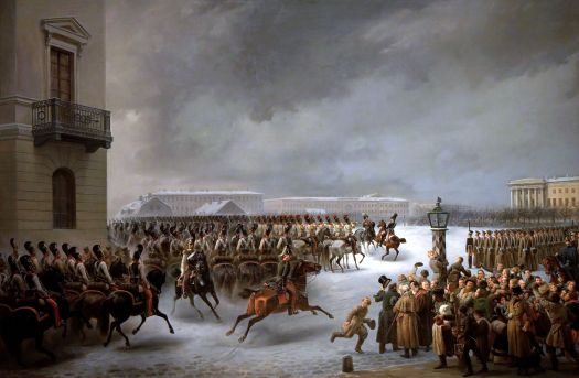 The Russian Guard Cavalry advances during the Decembrist revolt of 1825 by Vasily Timm.