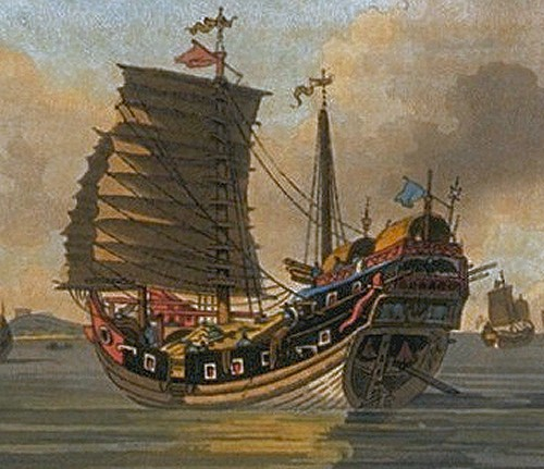 The distinctive curve of a Chinese Junk, if it flew a red flag, you'd be better avoiding it.