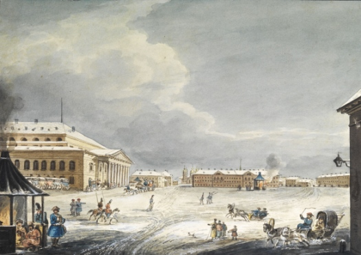 Theatreplatz St Petersburg in winter 1820 by Karl Ivanovich Kollman