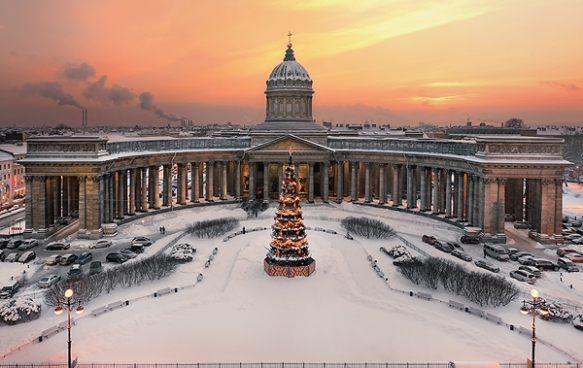 Kazan Cathedral St Petersburg in winter
