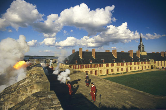 French Marine Artillery gunners firing from the bastions of Louisbourg, Madame, Drucourt was a familiar figure in these loud, dangerous places.