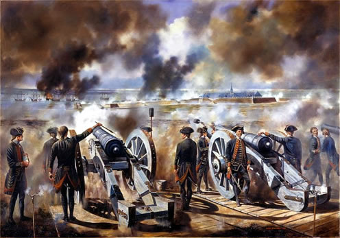 Heavy Siege guns of the Royal Artillery breaching Louisbourg's walls. By David Rowlands.