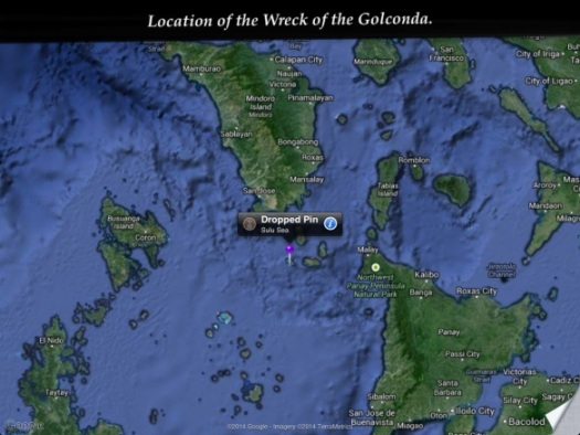 The Pin marks the sapphire dot of the Panagatan Cay were the Golconda was found.