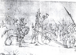 Execution of deserters during the 1707 campaign, see the tents in the background. By Mrcellus Laroon.