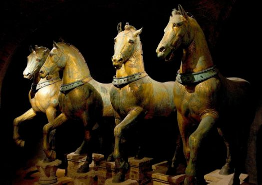 The magnificent Horses of St Mark, could date to Classical Antiquity. Looted by the Venetians in 1204, in 1797 they were looted again and for the next 13 years stood in the Place du Carrousel as a symbol of civic pride