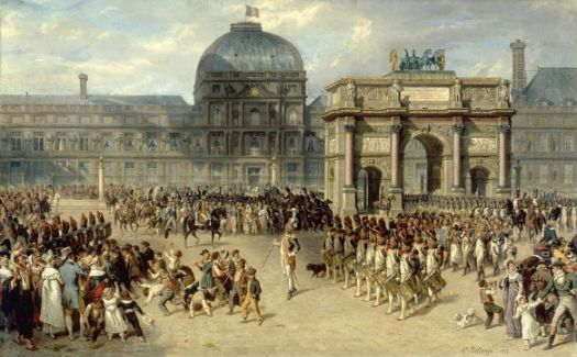 The less famous Arc de Triomphe du Carrousel, built in 1808 & seen here in 1810, was the centrepiece for many Napoleonic military display's. The famous horses ride its top. A potent symbol of the fallen Empire.