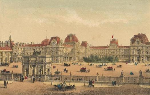 The Louvre, and the Place du Carrusel, showing the Arc surmounted with the quadriga.