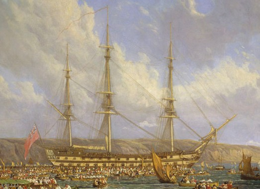 """Detail of a """"Scene in Plymouth sound in August 1815"""" oil on canvas by John James Chalon, 1816. Showing Bellerophon as Napoleon might have seen her from Ile de Aix, just minus the sightseers."""