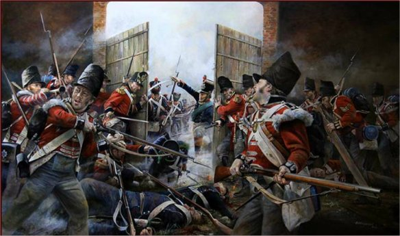 The closing of the North Gate at Hougoumont by Chris Collingwood. Henry Wyndham narrowly escaped death and witnessed the annihilation of the French left inside the courtyard, it scarred him deeply.