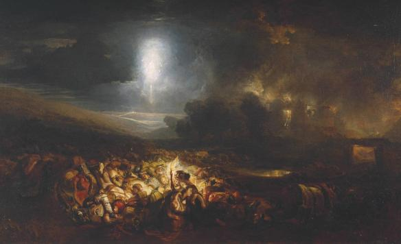 The Field of Waterloo exhibited 1818 Joseph Mallord William Turner. A night of horrors, for man and beast.