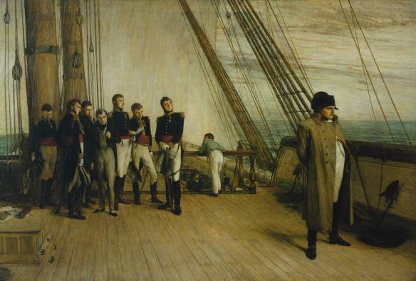 Napoleon on Board the Bellerophon exhibited 1880 Sir William Quiller Orchardson. A painting that says it all.