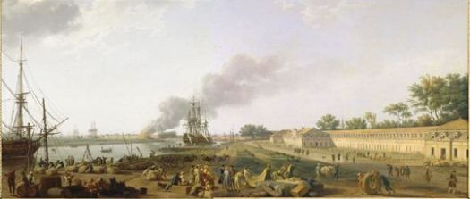 Rochefort Harbour by Vernet. Note the Corderie Royale stretching along the right hand side.