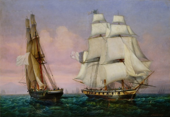 The return from Elba. 27 Feb 1815 Inconstant passes Zephyr. by Garneray.