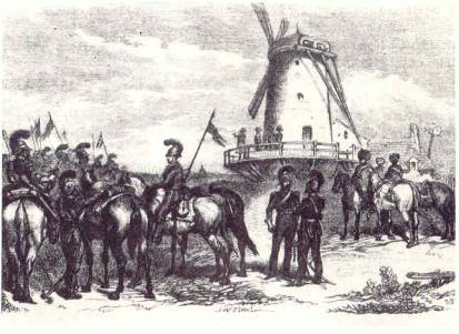 Napoleon observes the Prussian army from the windmill.