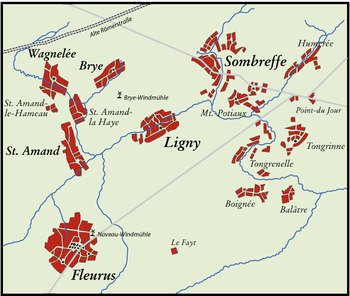Map of the area aound Ligny and the vital S bend and left hand Salient formed by the villages of Ligny, St Amand and Wagnelee.