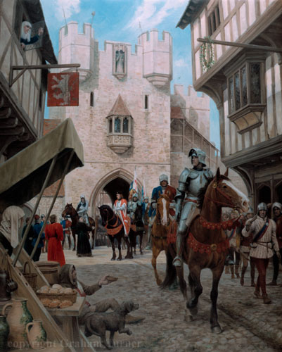 The Arrival, by Graham Turner, Studio 88. Edward enters London with his Flemish Gunners, through Bishopsgate.