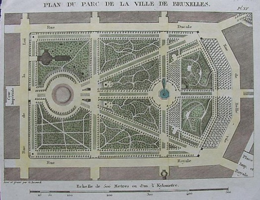 A plan of Brussels park from the 18th century. A focal point of the city where much socialising could be done.