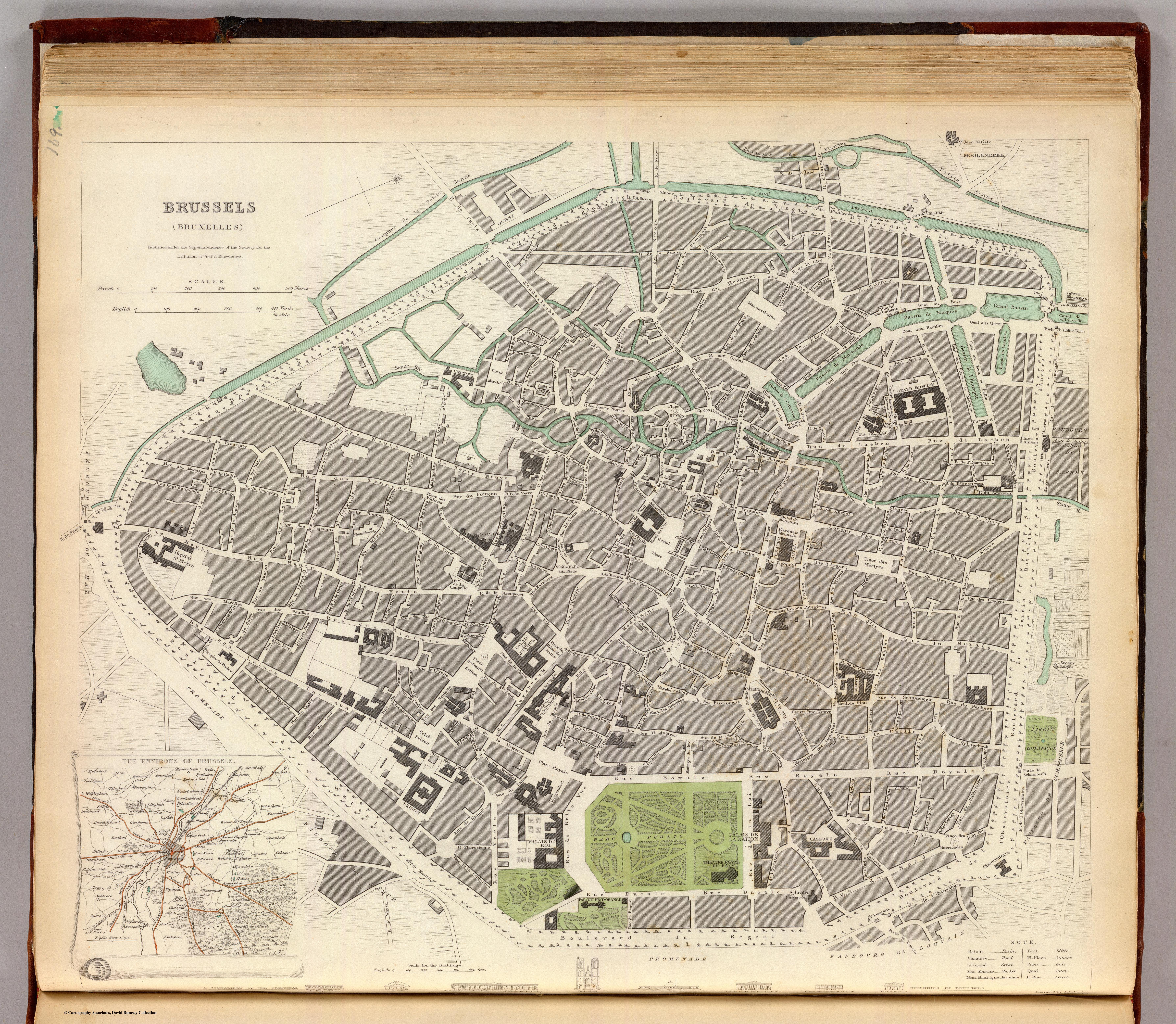 a map of brussels from 1837 shows roughly its 1815 extent with north more or
