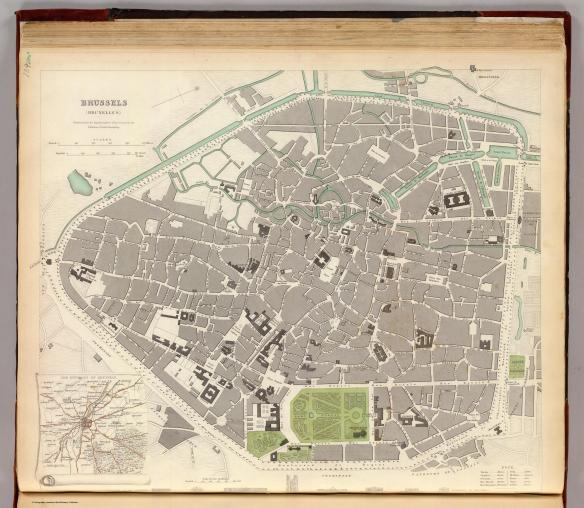 A map of Brussels from 1837 shows roughly it's 1815 extent, with North more or less to the right. The area around the park shows Wellington's street, the Montague de parc, the house of the Prince of Orange and at the right, at the edge of where the walls used to be is the Rue de Blanchisserie were the Duke and Duchess of Richmond stayed.