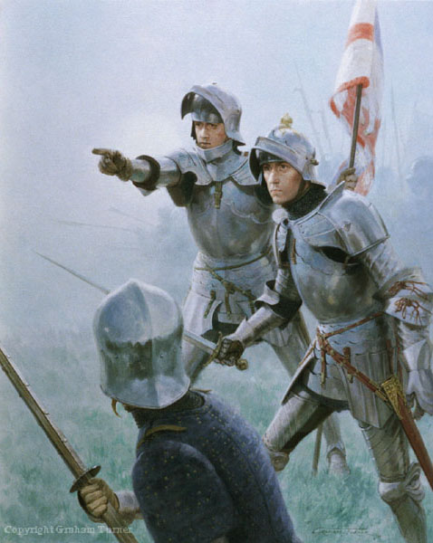 Richard of Gloucester searches for a foe on the right flank of the Yorkist army, as the Earl of Oxford routs Edward IV's left wing.