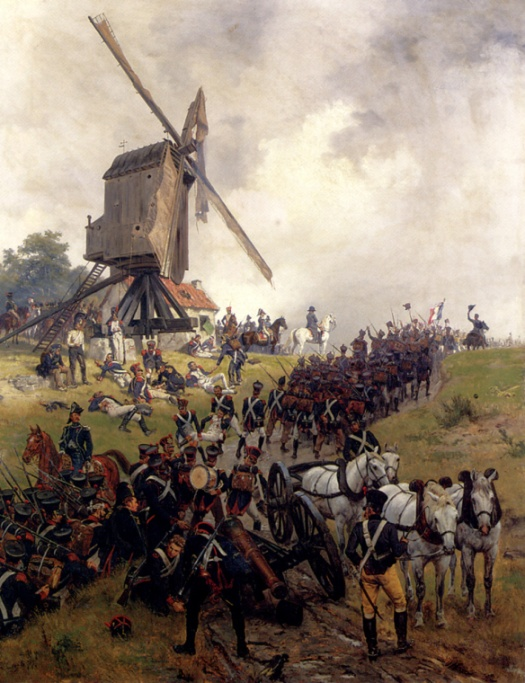 Battle of Ligny, by Crofts. French infantry march to the front, past the Emperor's command post. The windmill in the engraving is more accurate.