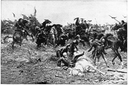 Old Marshal Blucher is trapped beneath his horse, and is ridden over by both the enemy and his own cavalry. He is rescued by Count von Nostitz