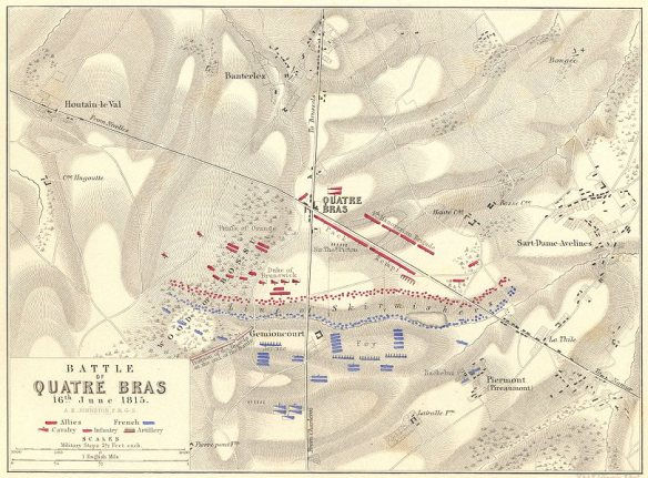 An 1840s positional map of the Battle of Quatre Bras, showing the situation as the tide was turning in favour of Wellington.