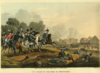 The Duke of Brunswick falls mortally wounded. His troops wore black in mourning for his father, killed at Jena in 1806.