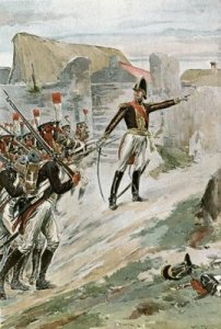 Marshal Ney Hurries troops forwards at Gemioncourt.