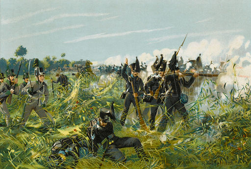 The Duke of Brunswick's Lifeguard and Advantguard Jagers engage the French skirmishers at La Bergerie.