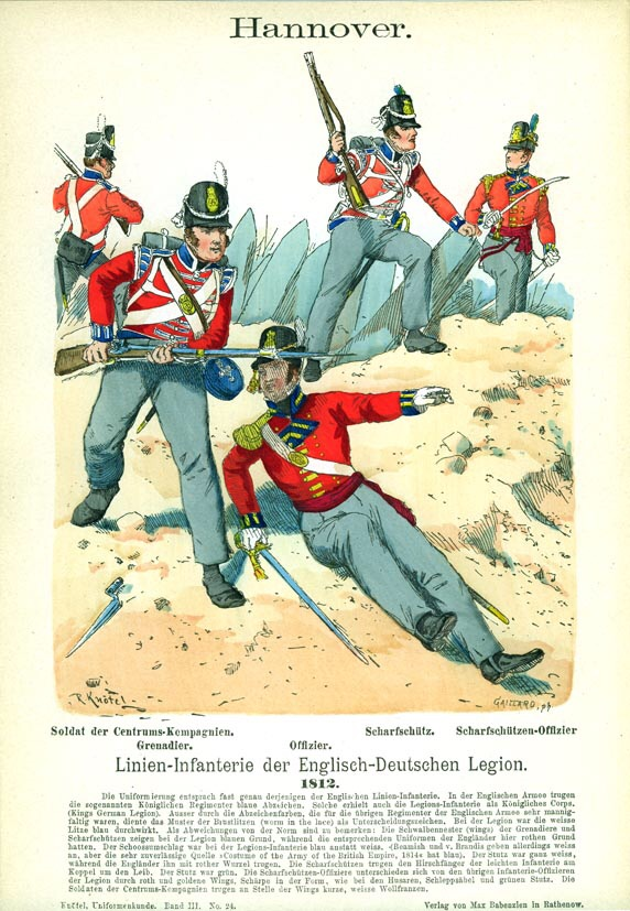 Kings German Legion in action in Spain, 1812. By Knotel.