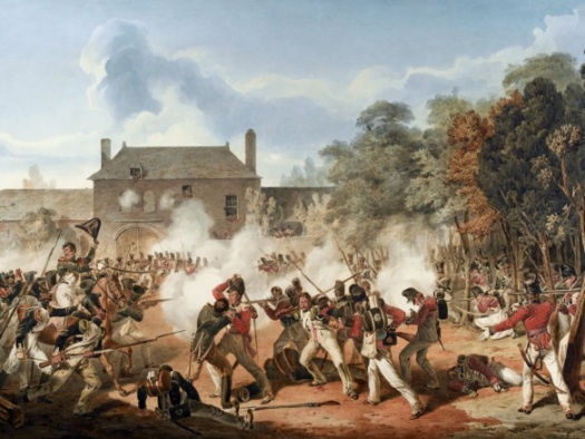 Dighton's painting of the fighting at Hougoumont. The Guards however should be deployed to the left of the South Gate in the background.