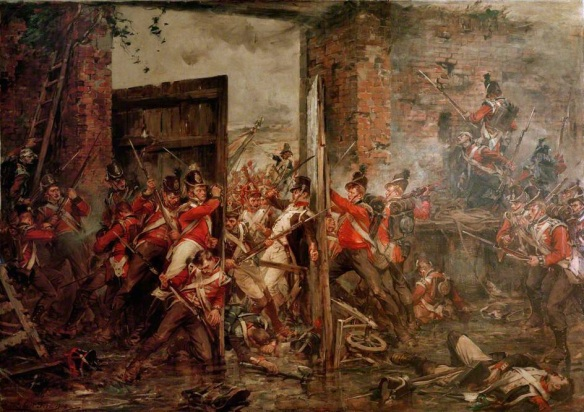 Macdonnell and Graham struggle to close the gates against the oncoming French. By Gibbs.