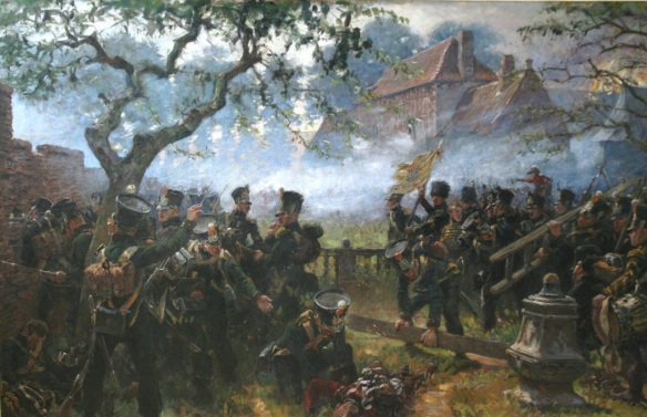 Nassau Light infantry falling back to the garden walls of Hougoumont. By Papandrecht.