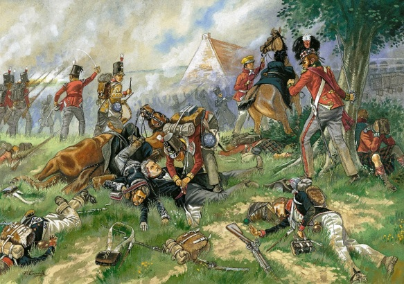 Sir Thomas Picton's body is looted by a soldier during D'Erlon's attack. Patrice Courcelle.