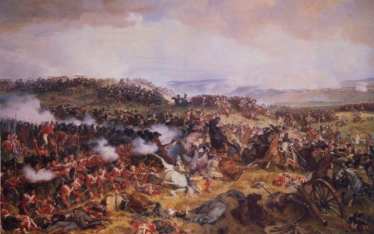 The Famous painting by Philippoteaux shows the drama of the principle event of Waterloo. As the Cuirassiers test the nerve of the British/allied infantry.