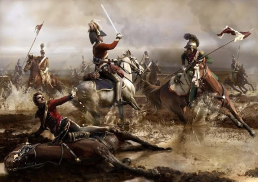 The death of General Ponsonby. Here the Lancers close in and Brigade Major Reignold's of the Grey's attempts to hold them off. A scene typical of many during the French counterattack. Mariusz Kozik